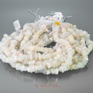Moonstone nuggets gray white 8 x 12 mm, 1 strand