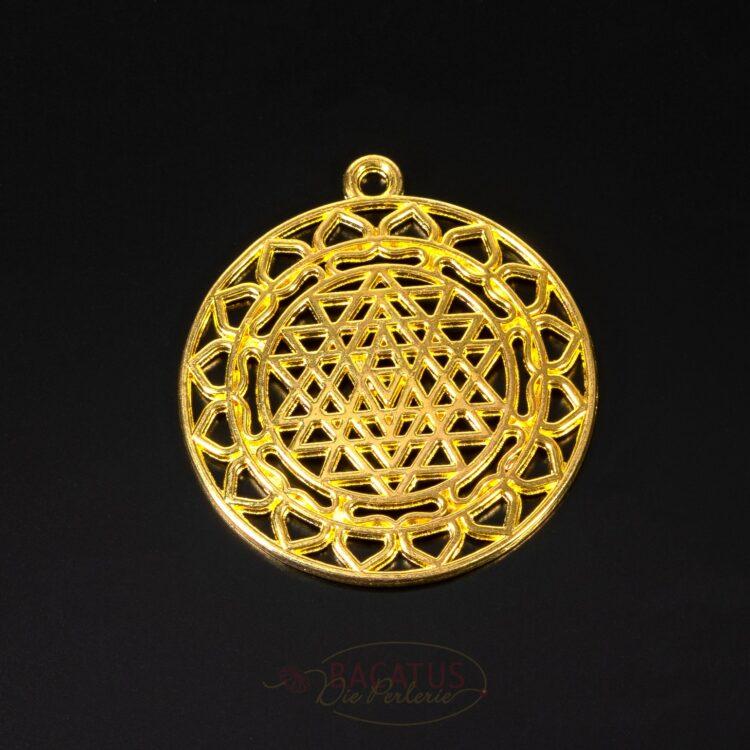 Pendentif en métal-Sri-Yantra-44x39-go