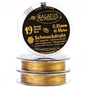 (3,39€/m) Schmuckdraht Edelstahlseide ✓ 24k vergoldet 19 Stränge