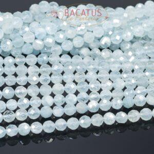 A-grade aquamarine plain round faceted 6mm, 1 strand