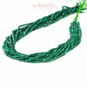 Malachite saucer faceted green approx. 2×3 mm, 1 strand