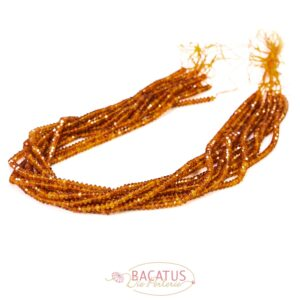 Granat Untertasse facettiert orange ca. 3x4mm, 1 Strang