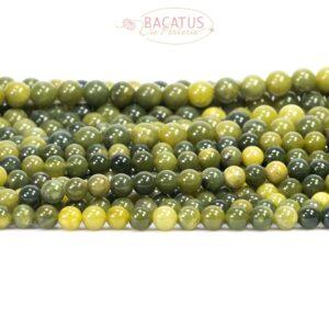 Xiu Jade Kugel glanz grün 6 – 8mm, 1 Strang