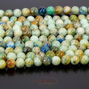 Boule d'opale bleu vert brillant 8mm, 1 fil