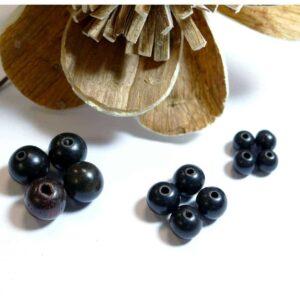 Ebenholz Holzperlen schwarz-braun 6 – 10 mm, 10 Stück