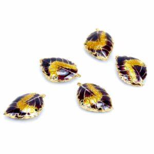 Metallperle Blatt lila gold 20 x 13 mm