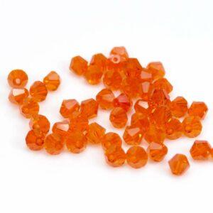 Glasperlen Doppelkegel orange 5,5 mm, 25 Stück
