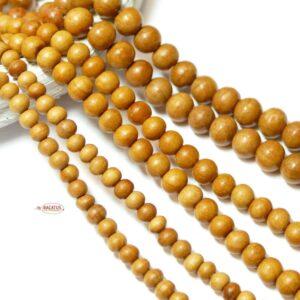 Holz Kugel hell Mala 3 – 10 mm, 1 Strang