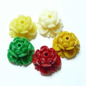 Kunststoffperle Lotus Mala 15×10 mm bunt, 5 Stück