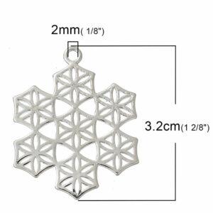 Metallanhänger Lebensblume Schneeflocke 32x25mm silber