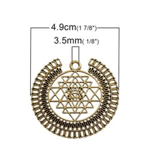 Metallanhänger Sri Yantra 49x44mm gold