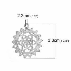 Metallanhänger Charm Lebensblume 33x29mm silber