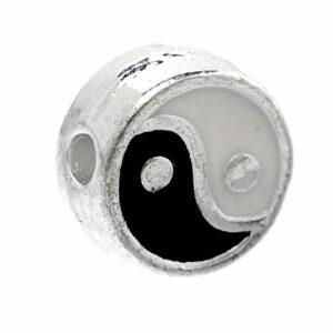 Metallperle Yin und Yang 7 mm versilbert