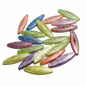 Perles acryliques losange coloré mix 41 x 11 mm 25 pièces