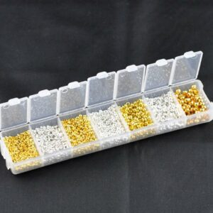 Quetschperlen Set 4 Größen, 2 Farben + praktische Sortierbox