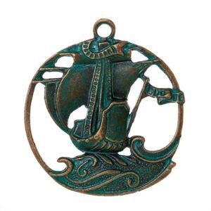 Metal pendant charm ship 43x38mm patinated brass