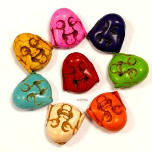Stone bead laughing Buddha head 29×27 mm color selection