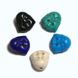 Stone bead Buddha head (mini) 15×14 mm color selection