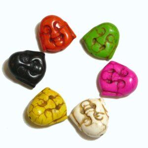Stone bead Buddha head (midi) 20×19 mm color selection