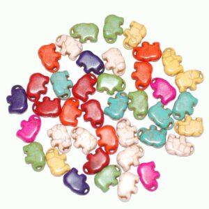 Stone bead elephant multicolored 11×14 mm, 1 strand
