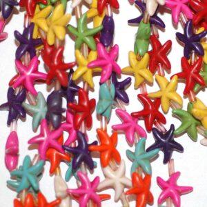 Starfish stone bead multicolored 14×5 mm, 1 strand