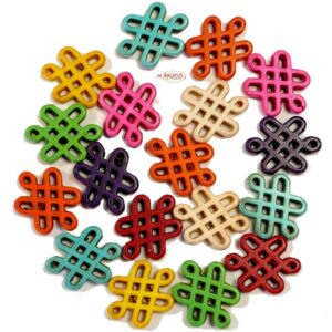 Stone bead Celtic knot colored 15×20 mm, 1 strand