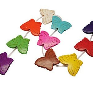 Stone bead butterfly multicolored 30×40 mm, 1 strand