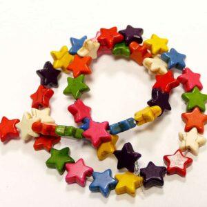 Steinperle Sterne bunt 12 mm, 1 Strang