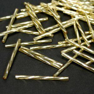 gedrehte Stiftperlen Bugle Beads gold 35mm Preciosa, 20 Stück