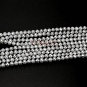 Freshwater plain round silver 6 mm, 1 strand