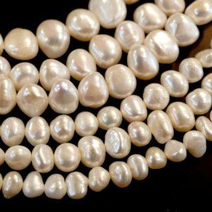 Pepite di perle d'acqua dolce bianco crema selezione dimensioni, 1 capo