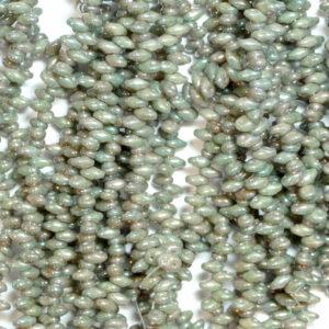 Perline SuperDuo Twin 2,5 × 5 mm Nebulosa Avorio Opaco (27), 1 filo