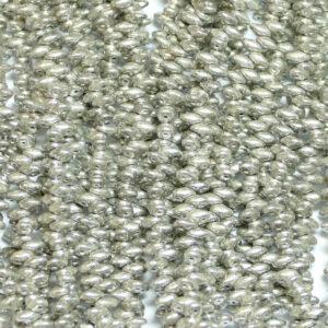 Perline SuperDuo Twin 2,5 × 5 mm Jet Silver Paste Mat (41), 1 filo
