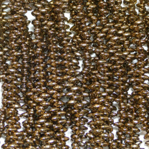 Perline SuperDuo Twin 2,5 × 5 mm Jet Gold Bronze (44), 1 filo