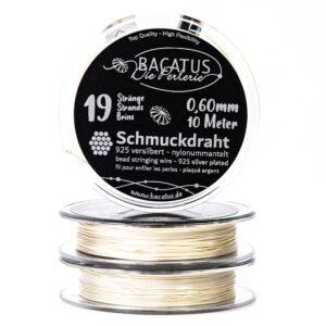 (2,29€/m) Schmuckdraht Edelstahlseide ✓ 925 versilbert 19 Stränge