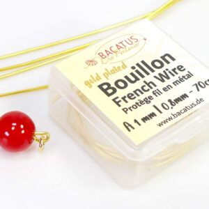 (3,50€-1,86€/m) Bouillon Perlspiraldraht French Wire vergoldet Ø 1 mm 70cm