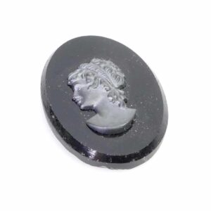 Böhmisches Glas Cabochon Camée schwarz 24×18 mm