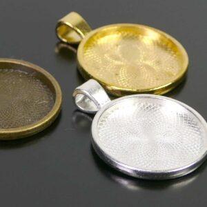 Fassung Anhänger für Cabochons rund 25 mm Metall