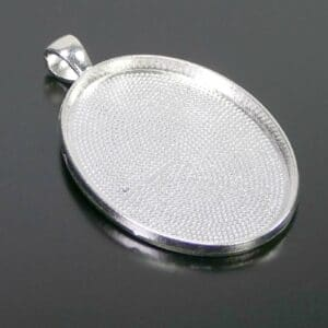 Fassung Anhänger für Cabochons oval 40×30 mm Metall silber