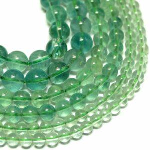 Fluorit Kugel glanz grün 4 – 8 mm, 1 Strang