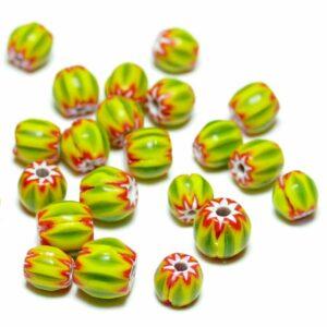 Glasperlen Chevron grün gelb rot ca. 7 mm, 10 Stück