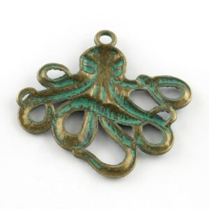 Metal pendant octopus squid 56x58mm brass patinated
