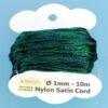 Nylon Satin Cord Ø 1 mm 10m (0,22€/m) - dunkelgrün