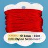 Nylon Satin Cord Ø 1 mm 10m (0,22€/m) - rot