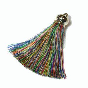 Pompon nylon multicolore or 80 x 14 mm