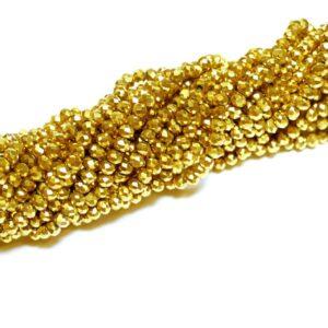 Kristallperlen Rondelle facettiert gold 3 x 4 mm, 1 Strang