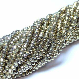 Kristallperlen Rondelle facettiert hell-gold 3 x 4 mm, 1 Strang