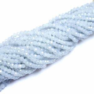 Kristallperlen Rondelle facettiert hell-silber-opak 3 x 4 mm, 1 Strang