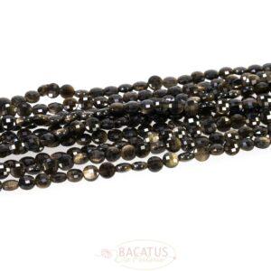 Gold Obsidian Münzen facettiert 6 mm 1 Strang