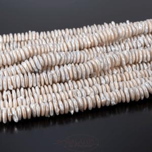 Süßwasserperlen Linsen cremeweiß ca. 10-11mm, 1 Strang